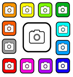 Camera Square Icons vector image vector image