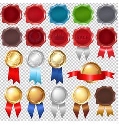 collection wax seal and award ribbons vector image vector image