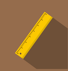 yellow ruler icon flat style vector image vector image