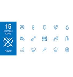 15 drop icons vector