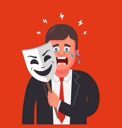 A man in a suit hides his emotions behind a mask vector