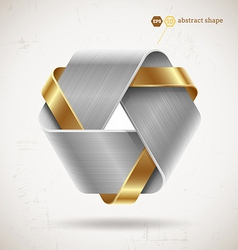 Abstract metal shape with steel and gold elements vector