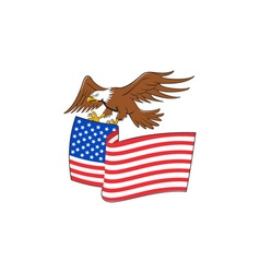 American Bald Eagle Carrying USA Flag Cartoon vector