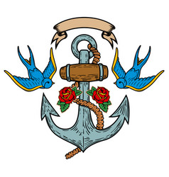 anchor with swallows and roses tattoo design vector image