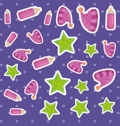 bamilk bottle with hats and stars pattern vector image