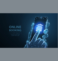 booking online smartphone in man holding hand vector image