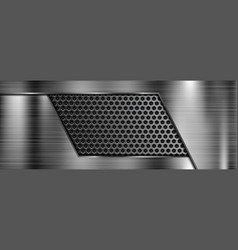 Brushed metal 3d background with perforation vector