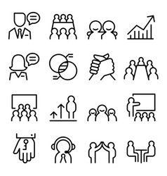 business consulting icon set in thin line style vector image