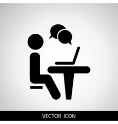 Businessman working on computer web icons for vector