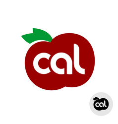 calories icon with red apple and leaves silhouette vector image