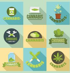 Cannabis plant logo set flat style vector