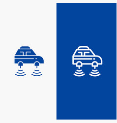 Car electric network smart wifi line and glyph vector