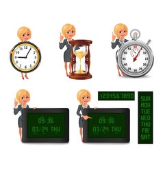 Cartoon blond business woman deadline set2 vector
