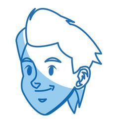 cartoon boy head sport design graphic vector image