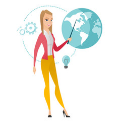 Caucasian business woman pointing at a globe vector