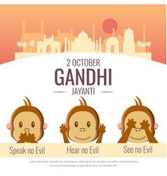 Celebration of gandhi jayanti with three monkey vector