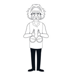 Character scientist physical holding test tube vector
