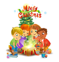 Christmas miracle - kids opening a magic gift vector