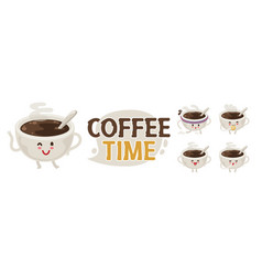 coffee cup emoji set vector image