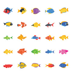 collection fishes flat icons vector image