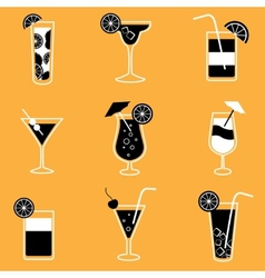 Collection of party cocktails with alcohol vector