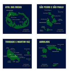 Colorful ocean islands map brazil vector