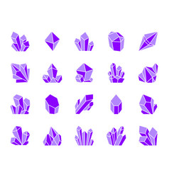 Crystal simple gradient icons set vector
