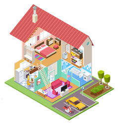 cutaway house isometric housing construction vector image