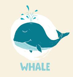 Cute whale cartoon hand drawn animal doodles vector