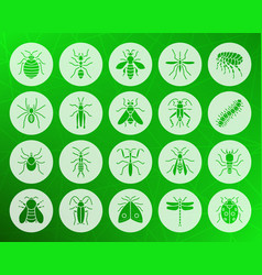 Danger insect shape carved flat icons set vector