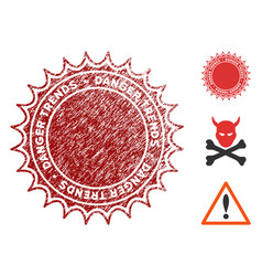 Danger trends seal with grungy style vector
