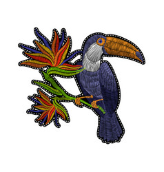 Embroidery toucan with tropical flowers vector