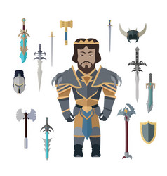 Fantasy knight character with weapons vector