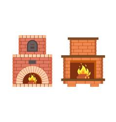 Fireplace made of bricks redbrick furniture set vector
