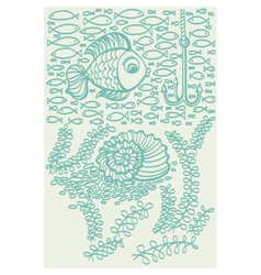 Fishes in sea with shell and seaweed vector