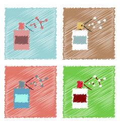Flat icon design collection perfume and vector