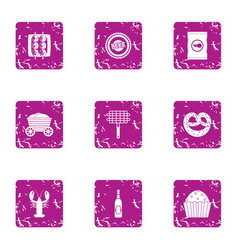 Foodstuff icons set grunge style vector