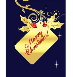 Golden Merry Christmas Tag vector
