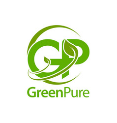 green pure leaf initial letter gp logo concept vector image