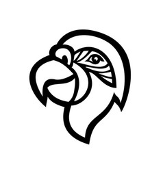 Head macaw parrot mascot side view black vector