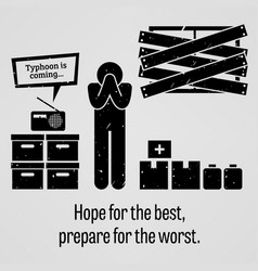 hope for best prepare for worst a vector image