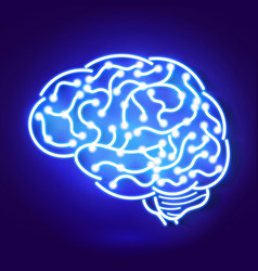 human brain neon sign on blue vector image