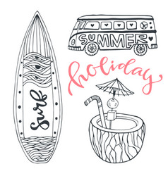 Icon set summer beach vacation with surfboard vector