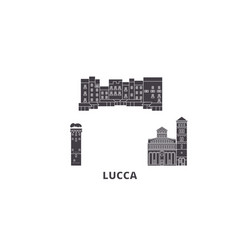 Italy lucca flat travel skyline set italy lucca vector