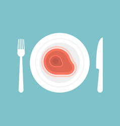 Knife and fork with steak in plate vector