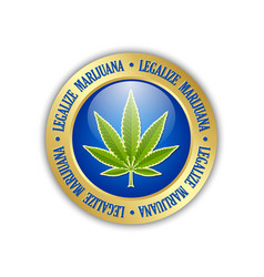 legalize marijuana hemp leaf icon on white vector image