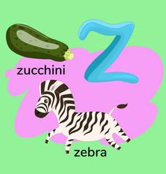 Letter z from children s alphabet vector