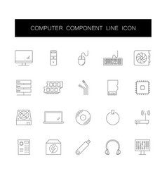 line icons set computer component pack vector image