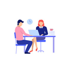 man and woman on interview conversation vector image