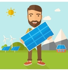 Man holding a solar panel vector image